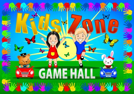 Kids Zone banner, poster. Girl, Boy with Bunny and Taddy toys cars on a bright background, Frame color handprints, blue sky, flying butterflies. Cartoon vector illustration
