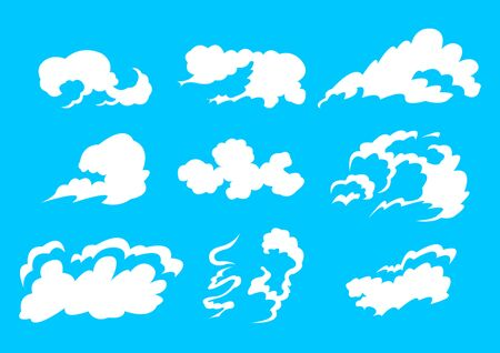 Set White Clouds isolated on a blue background. Flat style vector illustration Banque d'images - 129279292
