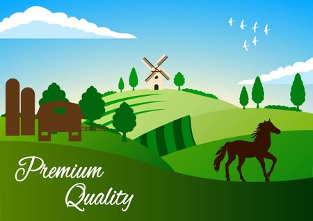Country Landscape. Farming. Summer Rural landscape. Horse, green hills, fields, trees on a blue sky background. Flat style vector illustration