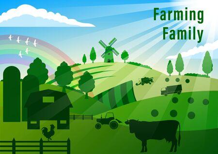 Land-Landschaft. Landwirtschaft. Sommer Ländliche Landschaft. Kuh, Hahn, landwirtschaftliche Technik, Windmühle, grüne Hügel, Felder, Bäume auf blauem Himmelshintergrund. Vektorillustration im flachen Stil Vektorgrafik