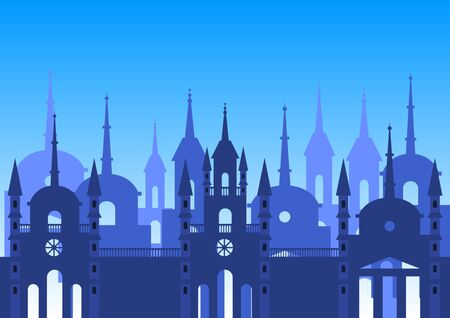 Panorama of the medieval European old city. Flat style vector illustration