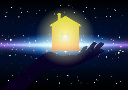 Returning home. Bright yellow House on the palm, hand silhouette, on a starry, galactic background. Beautiful fantastic vector illustration Ilustração
