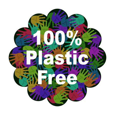 100 percent Plastic free product sign for labels, stickers. Different color handprints. Flat style vector illustration Иллюстрация