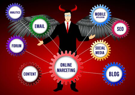 Devil Online Digital Marketing banner. Businessman in the form of a fallen angel with wings and horns. Color the gears with labels on a city bacground. Vector illustration 일러스트