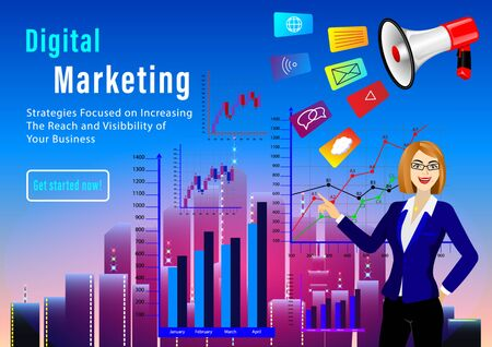 Digital Marketing concept. businesswoman pointing at graphs on the background of skyscrapers. Megaphone and different icons. Vector illustration Иллюстрация