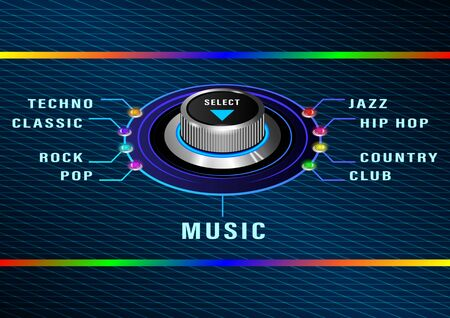 selection of different genres of music. Round control with colored bulbs on the metal corrugated panel. Front and side view. Realistic Vector Illustration