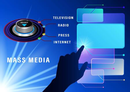 Mass media select round control with colored bulbs, control on the screen with your finger, touch screen. Front and side view. Realistic Vector Illustration