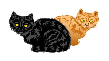 2, two cats sit. Black and sandy Kittens with a shiny coat, isolated on a white background, side view. Vector illustration