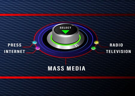 Mass media select round control with colored bulbs. Television, radio, press, internet. Front and side view. Realistic Vector Illustration