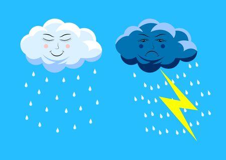 set cute rain clouds. Cartoon vector illustration Иллюстрация