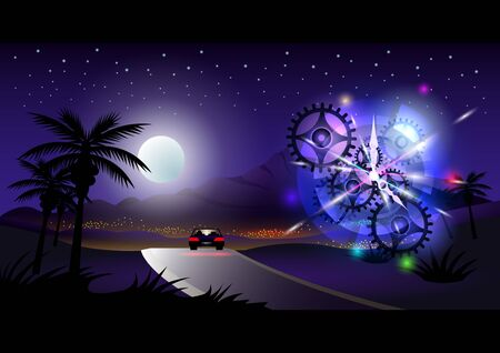 Journey, Night city, tropical landscape. Lonely car on the road in the moonlight and starry sky. Clockwork mechanism. Vector illustration