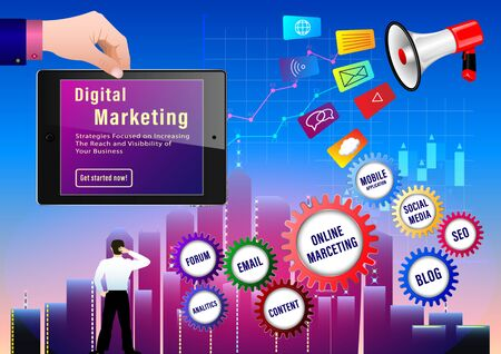 Digital Marketing concept. Businessman with a portfolio runs up the arrows on the background of skyscrapers and graphs. Megaphone and different icons. Hand holding laptop. Vector illustration