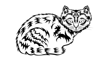 Black contour Cat sit. Kitten with a tribal pattern coat, isolated on a white background, side view. Vector illustration