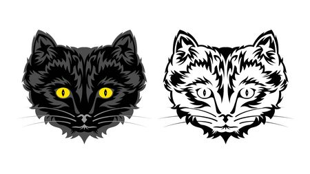 Black and contoured head of domestic cat. Kitten with a tribal pattern coat, isolated on a white background, front view. Flat style Vector Illustration