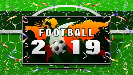 Football 2019 banner. Screen TV, Ball flying into the net gate, front view, image of the continents of the world in the background. Vector illustration