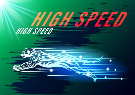 jaguar, cat high speed concept. Cheetah in motion background blue arrows two-color gradient. Tribal pattern style vector illustration Banque d'images - 129279386