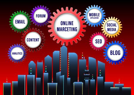 Digital Marketing banner. Color the gears with labels on a city background. Vector illustration