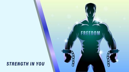 Freedom struggle banner. muscular man with broken shackles. Clenched fist. Barbed wire on a blue background. Horizontal Vector illustration. Ilustração