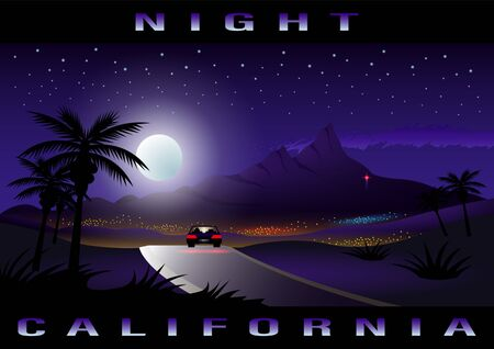 California, Night city, tropical landscape. Lonely car on the road in the moonlight and starry sky. Journey Moonlight highway Vector Illustration