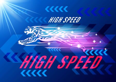 jaguar, cat high speed concept. Cheetah in motion background blue arrows two-color gradient. Tribal pattern style vector illustration