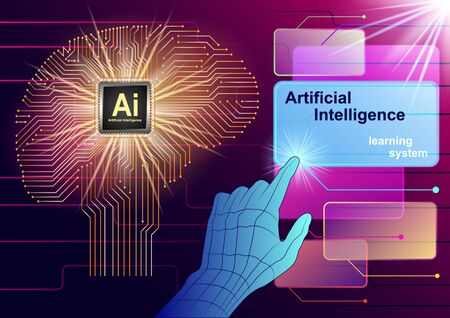 Artificial Intelligence, Learning System. Realistic brain of the chip. Virtual Hand controls transparent colored windows. Futuristic design vector Illustration