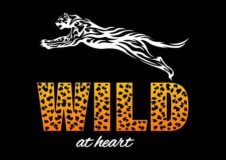 jaguar print t-shirt. Spotted slogan, lettering  wild at heart. Tribal pattern style vector Illustration