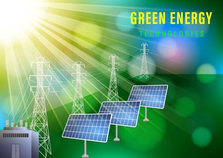 Green energy technologes banner. The sun illuminates the solar electric panels on the background of boke. Realistic vector illustration