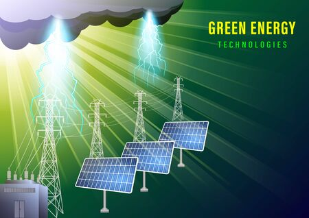 Green energy technologes banner. The sun illuminates the solar electric panels and a high-voltage line. Storm clouds and lightning. Realistic vector illustration