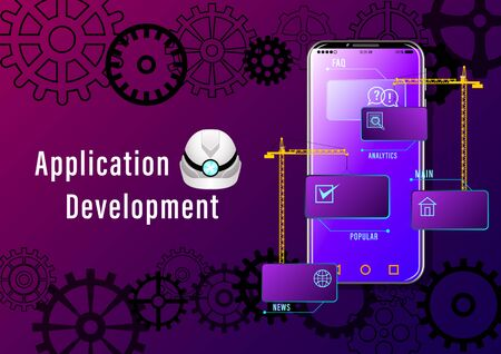 Application Development banner. Construction cranes install windows with icons on the smartphone on the background of gears. Realistic Web design vector illustration