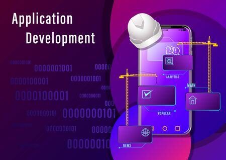 Application Development banner. Construction cranes install windows with icons on the smartphone  on binary code background. Realistic Web design vector illustration