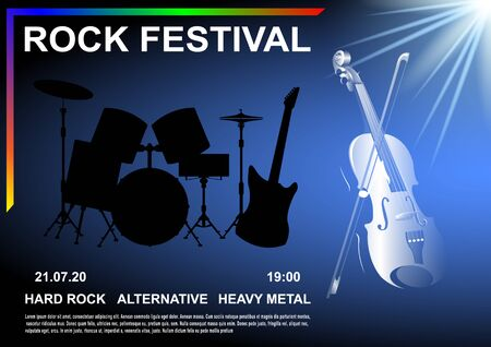 Rock Festival poster. Violin with bow illuminated by white light, the silhouette of the drum set and electric guitar. Realistic vector illustration