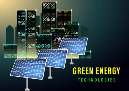 Green energy technologes banner. The sun illuminates the solar electric panels on the background of night city. Realistic vector illustration