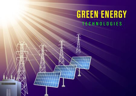 Green energy technologes banner. The sun illuminates the solar electric panels and a high-voltage line. Realistic vector illustration Archivio Fotografico - 129279406