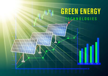 Green energy technologes banner. The sun illuminates the solar electric panels on the background of graphs and charts. Realistic vector illustration