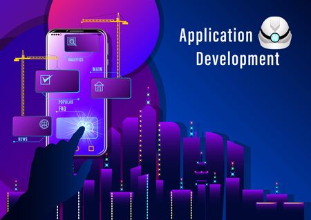 Application Development banner. Construction cranes install windows  on the smartphone  on night city  background. Realistic Web design vector illustration