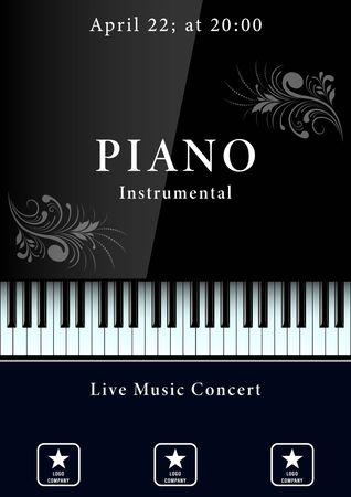Cartel de concierto de música clásica. Teclado de piano realista con patrones. Ilustración vectorial