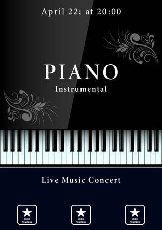 Konzertplakat für klassische Musik. Realistische Klaviertastatur mit Mustern. Vektorillustration