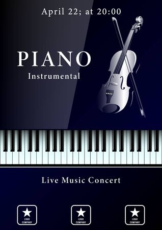 Live Music Concert poster. Realistic piano keyboard and violin with bow. Vector Illustration  イラスト・ベクター素材
