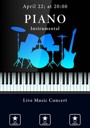 Live music concert poster. Realistic piano keyboard and drum kit silhouette with electric guitar. Vector Illustration
