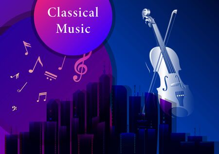 Classical music poster. Violin with a bow, musical notes on a dark city background. Realistic 3d horizontal vector illustration