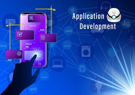 Application Development banner. Construction cranes install windows  on the smartphone  on icons blue background. Realistic Web design vector illustration Ilustrace