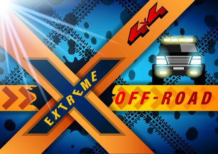 Extreme Off Road banner. SUV with headlights on against the background of dirt and wheel marks. Realistic Vector Illustration