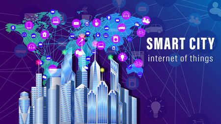 IoT, Internet of things, Smart City banner. The world map with the scheme of icons background of skyscrapers. Vector illustration Stock Illustratie