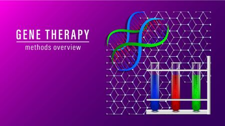 Gene therapy banner. DNA scheme, test tubes with multi-colored liquids. Vector Illustration