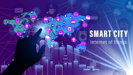 IoT, Internet of things, Smart City banner. Hand finger clicks on the world map with the scheme of icons background of skyscrapers. Flat style vector illustration