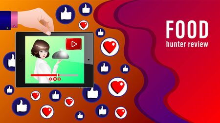 Food review banner. The girl takes the dish to display tablet live on background likes, broadcast or record the cookery. Learning to cook. Vector Illustration