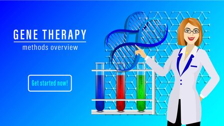 Gene therapy banner. A woman scientist in glasses and a white coat points to a DNA scheme, test tubes with multi-colored liquids. Vector Illustration