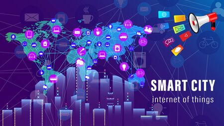 IoT, Internet of things, Smart City banner. Megaphone, The world map with the scheme of icons background of skyscrapers. Vector illustration