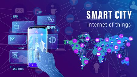 IoT, Internet of things, Smart City banner. The arm is controlled by a smartphone, The world map with the scheme of icons background of skyscrapers. Vector illustration Stock Illustratie