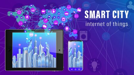 IoT, Internet of things, Smart City banner. Tablet pc and smartphone, The world map with the scheme of icons background of skyscrapers. Vector illustration